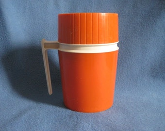 Vintage,  70s, Orange, King Seely, Vacuum Jar, Hot and Cold, Thermos
