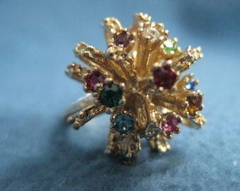 Vintage, Gold, Jeweled, Cluster, Firework, Costume, Ring, Size 7