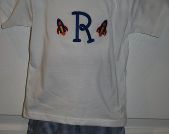 Boys Monogrammed short set Size 12mo to 5