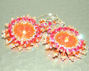 Earrings with Swarovski Crystal Stones,Silver Seed Beads and Sterling Silver, Christmas Gift, Glas Earrings