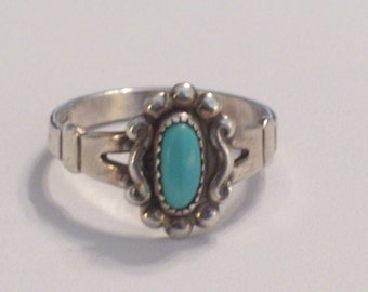 Vintage BELL Sterling Silver and Turquoise Native American Southwestern Ring Size 5.5