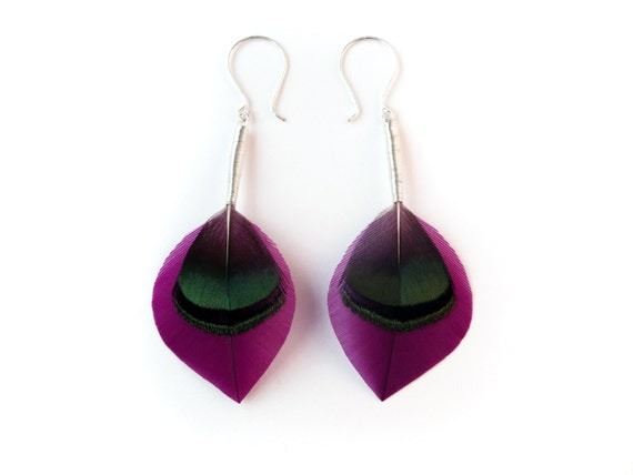 Crisp Leaf Shaped Feather Earrings in Bright Purple and Iridescent Dark Green