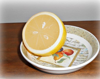 Half a Lemon Plastic Artificial Fake Food Photo Staging Prop
