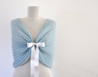 Bridal Cape Wedding Wrap Bridal Shrug Mint Green Pastel Pale Blue Mohair with Ribbon Something Blue