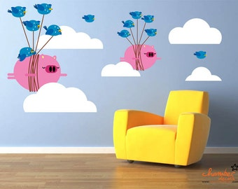 Cute Flying Pigs Bullying Birds Wall Decals