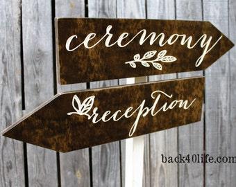 Custom Wedding Directional Arrow Wood Sign (S-017a)