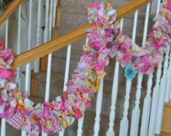 Bright Colorful Summer  Garland with Flowers,Spring Garland,Party Decoration,Fabric Garland,Pastel or Bright GArland for your Home decor