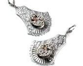Vintage Watch Movement Steampunk Silver Victorian Shield Earrings