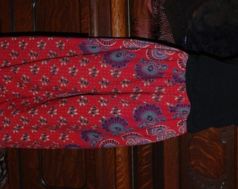 "Hippie Pants - East Indian fabric - Red Peacock Sanganeer circle - 38"" Long- Hips 48""  Read Measurements"