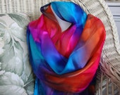 Scarf, Silk, Women, Hand Dyed, Flame Silk Scarf, Blue Violet Orange Hot Fuchsia Turquoise