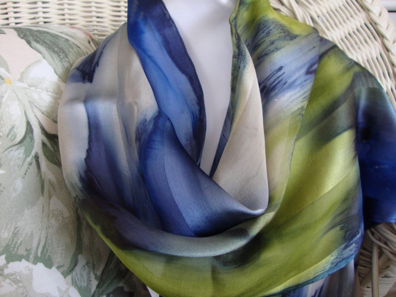 Scarf Silk Women Hand Dyed Blue Lagoon Silk Scarf Blue