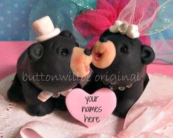 Black Bears in Love Wedding Cake Topper, Animal Cake Topper