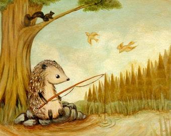 Art for Kids - Hedgehog Goes Fishing Print 10x10 / 11x11 - Nursery Art, Hedgehog Art, Hedgehog Baby Art, Hedgehog Art Print, Children's Art