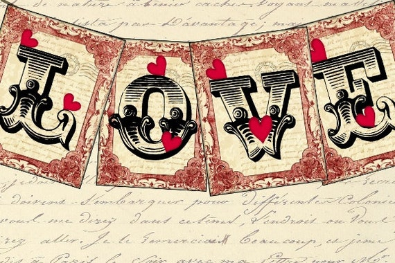Steampunk Love Banner Valentines Tags 3.5 x 4.5 Digital Collage Sheet garland flags bunting greeting cards postcard ATC ACEO UPrint 300jpg