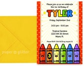 Crayon Rainbow Party Invitation for birthday or school classroom party Invite or Thank You Card Printable PDF or JPG
