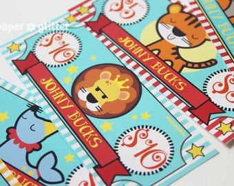 Circus Party Paper Toy Money or Gift Certificate Printables - Editable Text PDF-You type in the text to personalize