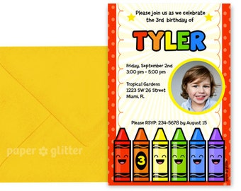 Crayon Art Rainbow Party Invitation Printable or Thank You Card With Photo Insert