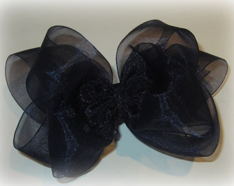 Organza Hair Bow, Organza Hairbows, Navy Blue Organza Bow, Navy Blue Hairbow, Sheer Hair Bow, Boutique Hairbows, Girls Hair Bows, Girls Bows