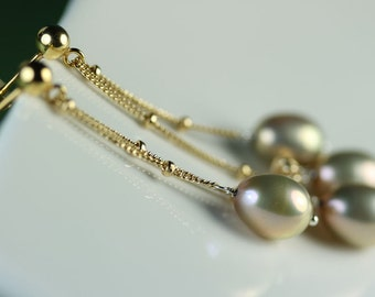 Pearls on Chain Dangle Earrings, Vermeil post with ball, 2 inches long, FW Pearl dangle earrings, free shipping in Canada, by art4ear