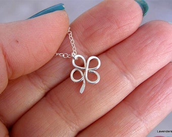 Clover Necklace , Four Leaf Clover  , Handmade Shamrock Necklace , Silver  Necklace , Good Lucky Charm Necklace
