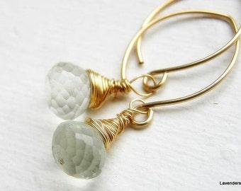 Green Amethyst Earrings  , Prasiolite Briolette  Earrings , Dangle gold Earrings , February Birthstone , Gold Earrings , Amethyst Jewelry