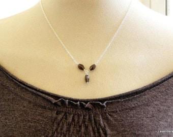 Smoky Quartz Necklace , Triple gemstone Necklace , Modern , minimalist Jewelry , Sterling Silver Necklace