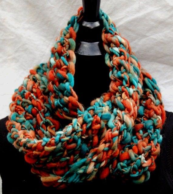 40% Off Sale Teal & Rust Handmade Crochet Mobius Cowl Neckwarmer