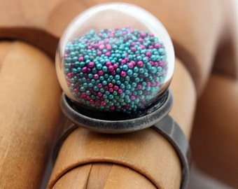 Turquoise and purple metallic microbead glass dome globe ring- tiny gumball dome ring with moveable coloured beads