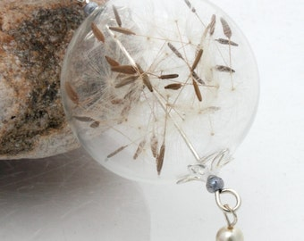 Dandelion clock seed glass orb globe necklace jewelry with pearl and lavender Swarovski crystal charm- Christmas winter jewelry