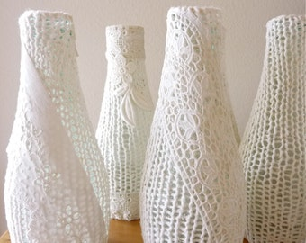 One Knitted Vase with Victorian Lace