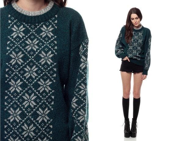 SNOWFLAKE Sweater 80s Fair Isle Oversized Jumper Dark Green