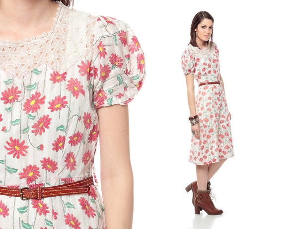 40s Floral Dress Cut Out 1940s Puff Sleeve Cotton Open Weave Flapper Vintage Sheath Red White Knee Length Midi Cutout Day Dress Medium Large