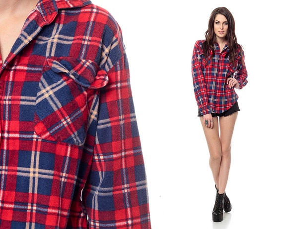 Red Flannel Shirt 90s Plaid Deep Blue Checkered Grunge 1990s