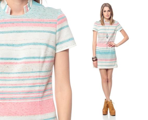 Mod Striped Dress 60s Mini Pink Teal Blue Heather Cream 1960s Sheath Mandarin Collar 70s Short Sleeve Twiggy Vintage Dress Small Medium S M