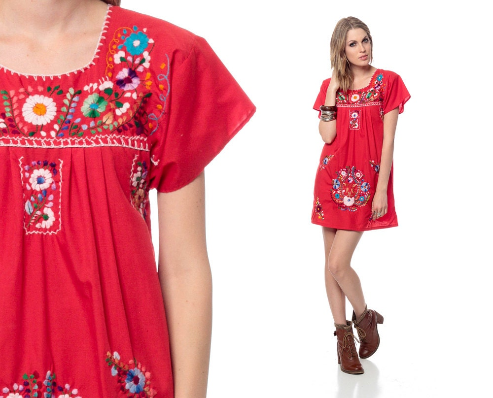 Mexican embroidered dress mini red cotton tunic s hippie