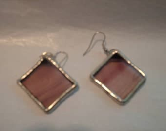 Stained Glass Amethyst Glass Earrings