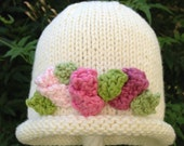 So So Sweet Hand Knit Baby Girl Hat White With Rose Buds