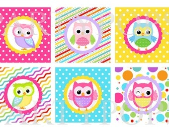 "DIY  Digital Owl Birthday Printable Cupcake Toppers 2"" circles Party Decoration, Pink, Yellow, Aqua,  INSTANT DOWNLOAD"