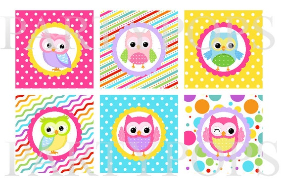 DIY Digital Owl Birthday Printable Cupcake Toppers 2u0026quot; circles Party ...