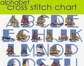 Ship Alphabet Sampler Cross Stitch Chart PDF, Nautical Alphabet, Maritime Alphabet PDF CHART