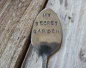 SALE My Secret Garden  Vintage Spoon Garden Marker
