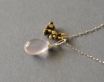 Rose Quartz Necklace, Sterling Silver with Gold Dog Charm - Real Gemstone Pendant, semi precious stone - I heart my PUPPY