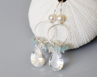 Crystal Quartz Earrings - Sterling Silver Hoop with Cluster of aquamarine and rainbow moonstone - Hand Forge - Wire Wrapped - Real Pearl