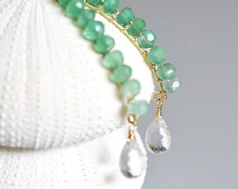 Green Onyx Earrings - 14k gold filled, wire wrapped, crystal quartz faceted teardrop briolette, bar, shaded, dangle, leaf and water drop