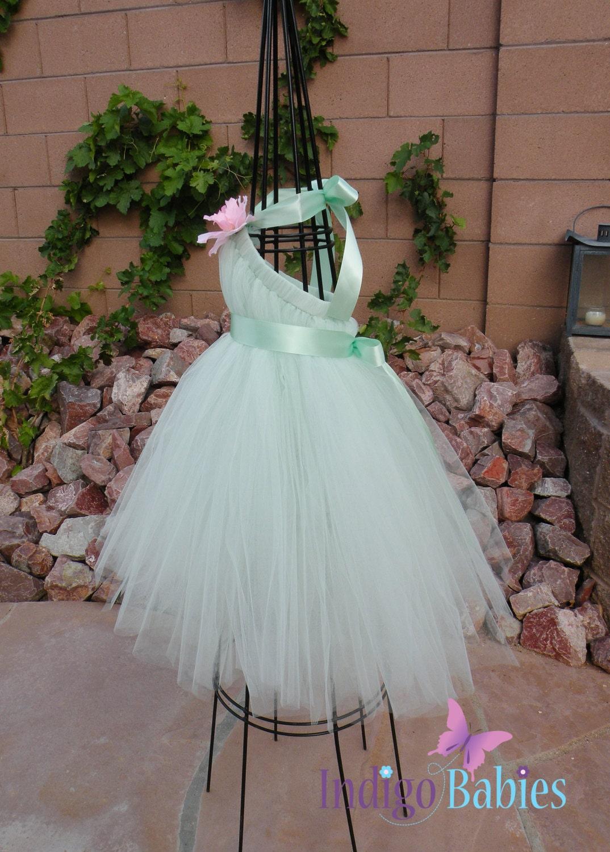 Tutu Dress Flower Girl Dress Mint Green Tulle Mint by indigobabies