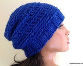 Baby Alpaca Slouchy Hat Beanie, Hand Knit and Crochet Cap // WAVERLY // Shown in Royal Blue, Color 29