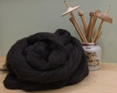 Finnish Wool - Natural Black - Undyed Roving for Spinning or Felting (8 oz)
