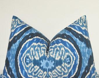 Pillow Cover, Decorative Pillow, Throw Pillow, Toss Pillow, Sofa Pillow, Lumbar Pillow, Blue Ikat, 16x24 inch, Denim Blue, Home Furnishing