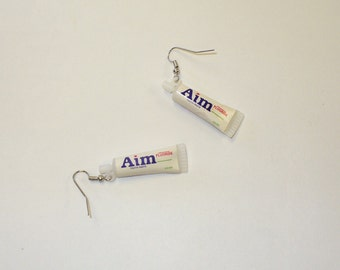 Vintage Toothpaste Charm Earrings DEADSTOCK