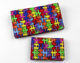 Autism RFID Lined Card Case, and Duplicate Checkbook Cover with Pen Holder,  2 Piece Set, Autism Awareness Fabric, Made to Order